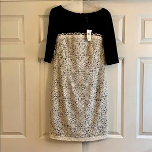 Black dress with white lace overlay - NWT